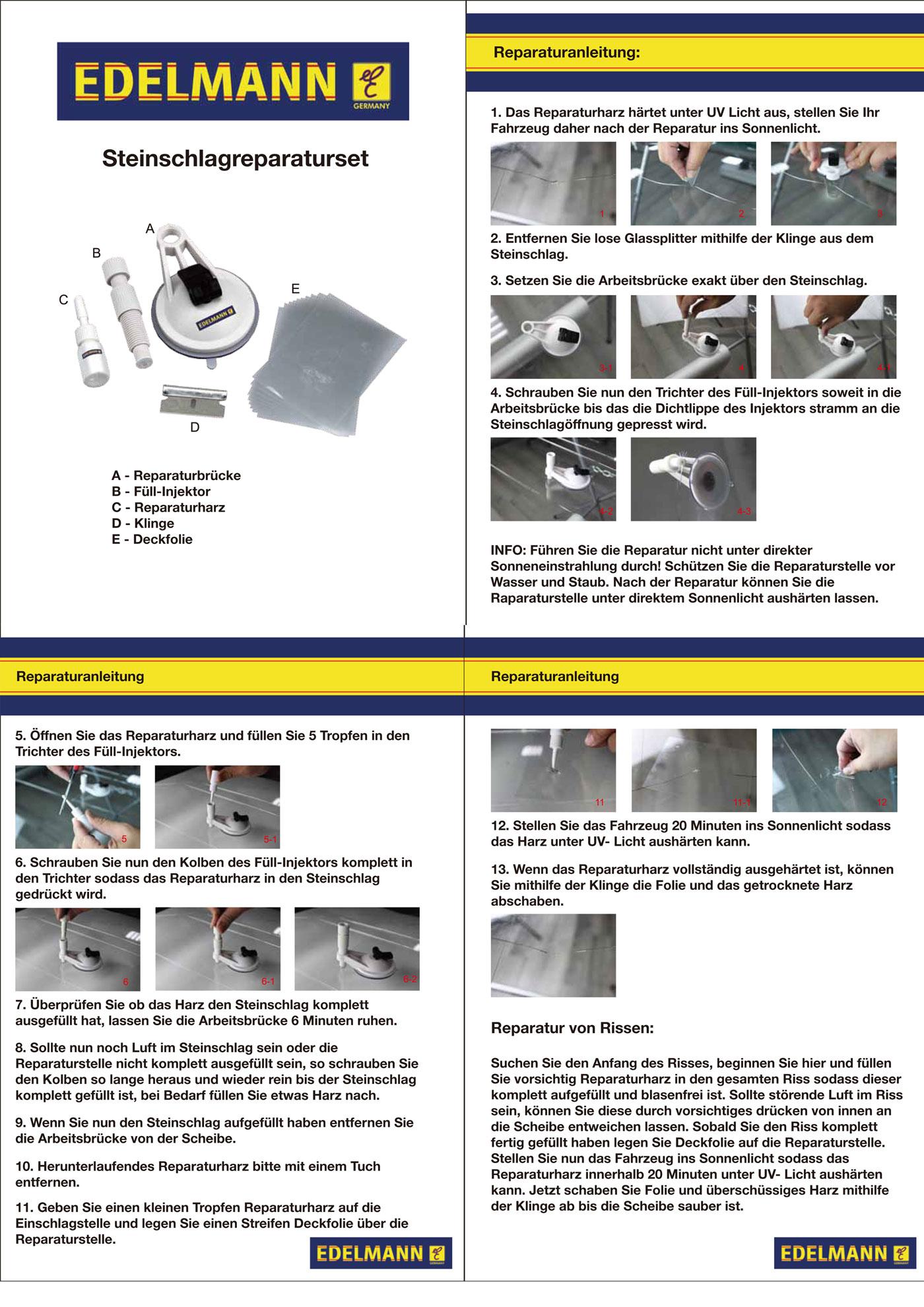 2x steinschlag reparaturset windschutzscheibe reparatur scheibenreparatur set ebay. Black Bedroom Furniture Sets. Home Design Ideas